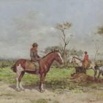 Ángel Della Valle, Paisanos en la estancia, óleo sobre tela, colección MAT.